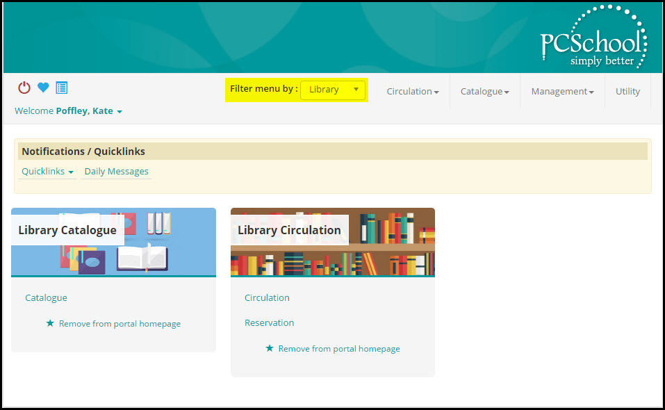 Access the PCSchool Student Management System Library via the PCSchool Spider Web Application