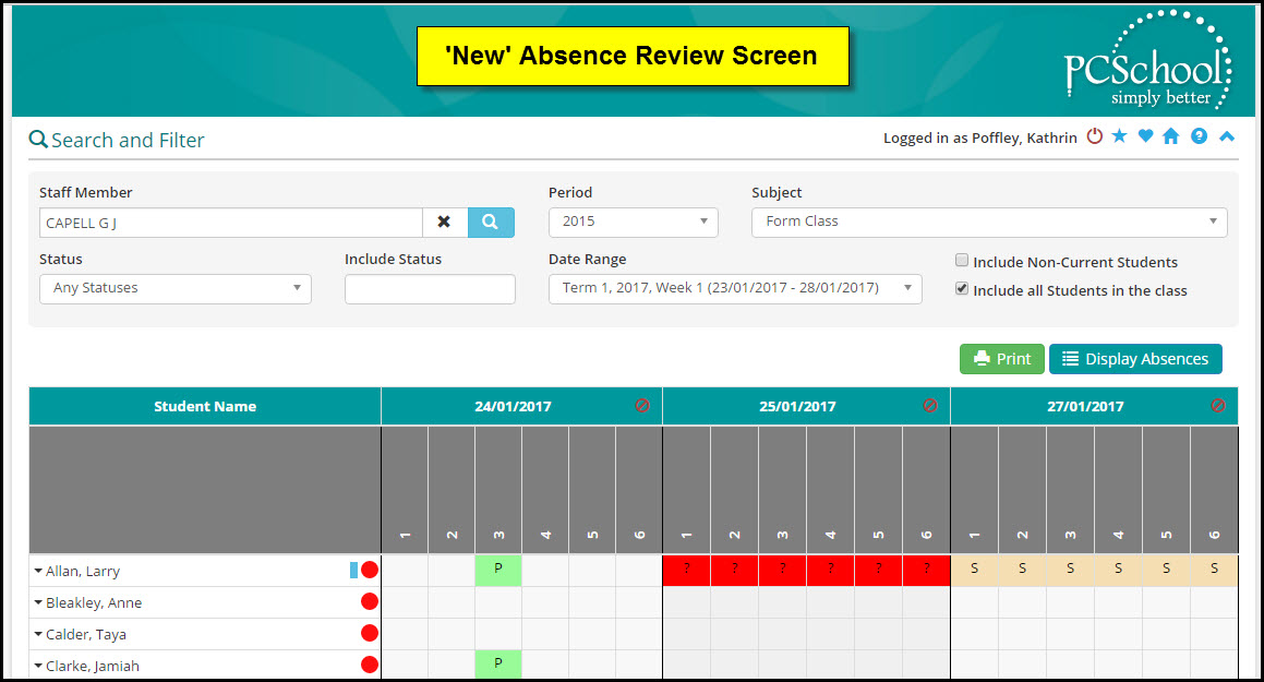 PCSchool New Absence Review Screen