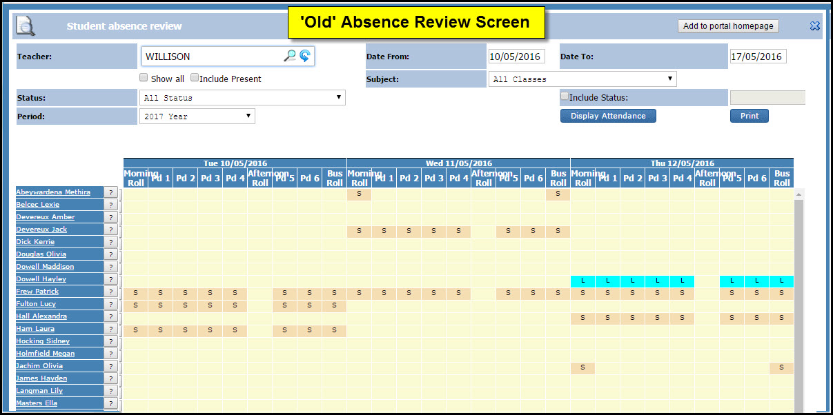 PCSchool Old Absence Review Screen